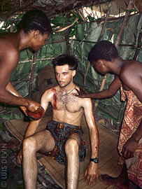 Luis Devin during the rite of initiation of the Baka Pygmies