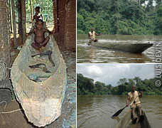 Pygmy pirogues and canoes, construction and use