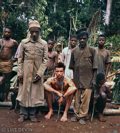 Luis Devin during a public ritual of the Baka Pygmy initiation