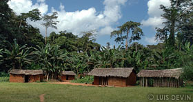 Bangandu huts made by mud bricks