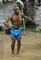 Pygmy dancer during a ritual dance