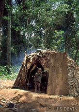 Traditional hut in a forest camp