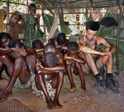 Luis Devin with other candidates to the initiation ceremony of the Baka Pygmies