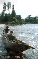Pygmy pirogue on a river