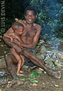 Pygmy father with his son